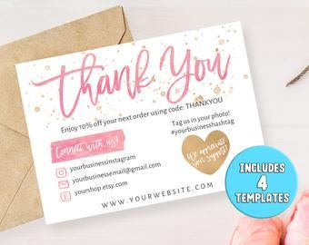 Four 4 Diy Printable Small Business Thank You Card Thank You For Shopping Note Care Card Insert Instagram Poshmark Etsy Printable Thank You Cards Business Thank You Cards Business Thank You