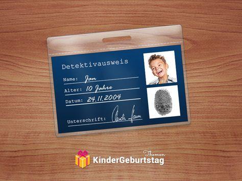 Detektiv Ausweis Vorlage · Kindergeburtstag DekoEinladung ...