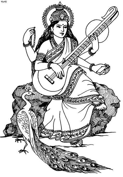 Goddess Saraswati Sketch Gif 600 865 Drawings Outline Images Hindu Art