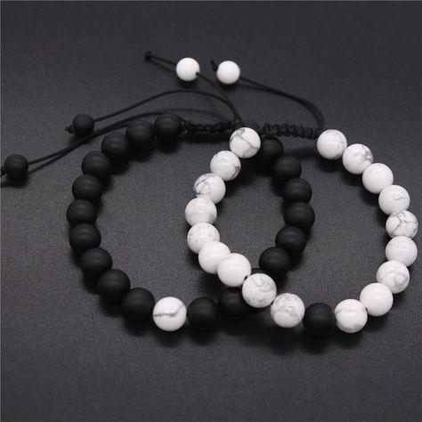 ADJUSTABLE Distance Bracelets Set Black & White Matching