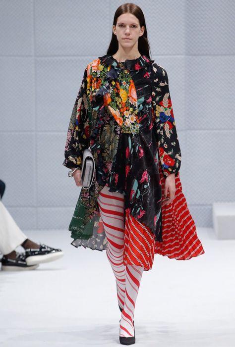 "demnabalenciaga: "" Flower prints and striped stockings at Balenciaga fw2016 """