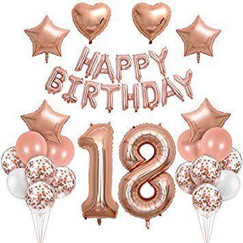 18th Birthday Decoration Ideas Awesome Happy Birthday 18th Birthday Rose Gold Birthday Decoration With Foil Happ Dekorasi Ulang Tahun Dekorasi Pesta Ulang Tahun