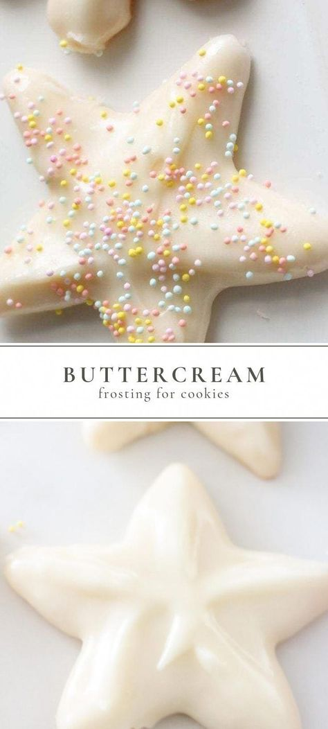 This sugar cookie buttercream frosting goes on smoothly and hardens just like royal icing. Learn how to ice sugar cookies, with yummy buttercream icing, the easy way! Made with just 3 ingredients and 5 minutes to make. #buttercream #frosting #icing #cookies #sugarcookies #buttercreamforsugarcookies #christmascookies #holiday #christmas #christmasdeserts