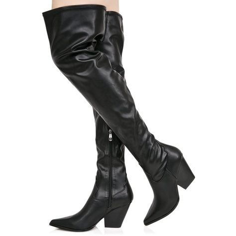 0a930079a7a Vegan Leather Thigh High Cowboy Boots ( 20) ❤ liked on Polyvore featuring  shoes
