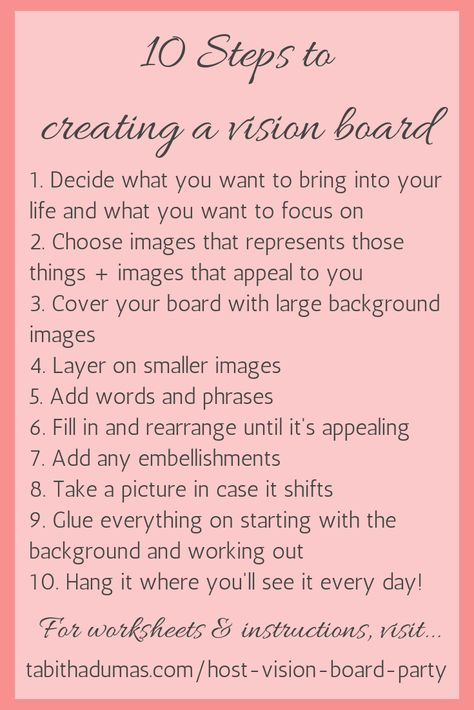 10 steps to creating a vision board. And how to host a vision board party!