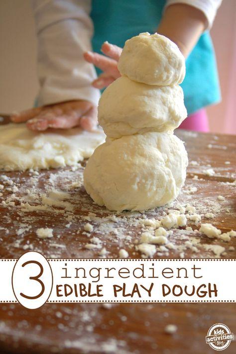 Edible Play Dough Recipe – Only 3 Ingredients! *repinned by WonderBaby.org