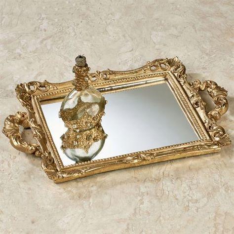 NEW FLORAL VINTAGE GOLD BRASS+CRYSTAL GEM VANITY+BATHROOM DECORATIVE MIRROR+BOX
