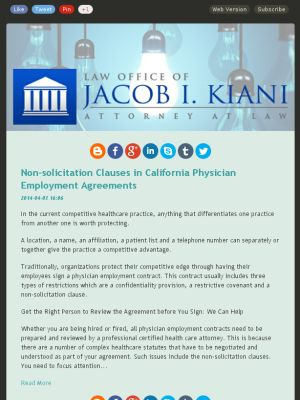 Check out this Mad Mimi newsletter Kiani Law LA Labor Law Blog - physician employment agreement
