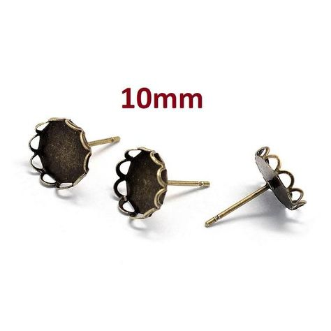 Antique Bronze Earring Posts Settings Bezels Tacks 10mm Glue Pad 10 pcs
