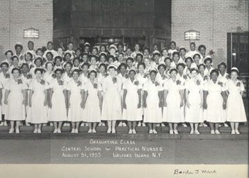 Born in Forest, Virginia, Berda Mack went to school in Lynchburg and graduated from Dunbar High School. In 1955 she graduated from the Central School for Practical Nurses in Roosevelt Island, New York. In this photograph she is on the right, third row back.