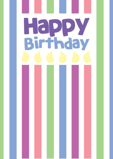 Happy Birthday Plain Stripes And Candles Card Ad Ad Plain Birthday Happy Card Candle Cards Birthday Card Design Cards