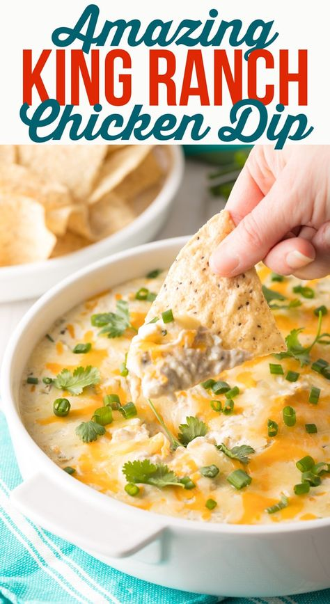 Rich Creamy King Ranch Chicken Dip Recipe! It's like a classic Texan King Ranch Chicken Casserole you can dip with crispy tortilla chips for parties. #ASpicyPerspective #texmex #dips #keto #lowcarb