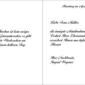 Kondolenzkarte Trauerkarte Beispiel 11 Text