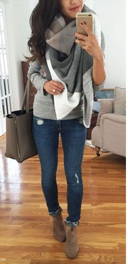 Love fall layering! Classic grey sweater with beautiful Blanket scarf on top. Great distressed skinnies and booties. Perfect fall look. Stitch fix 2016. Stitch fix fall 2016. Stitch fix winter 2016. Fall fashion trends and inspiration.