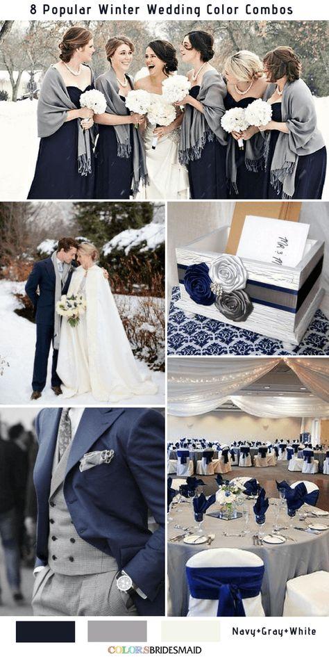 8 romantic winter wedding color combinations for 8 Romantic Winter Wedding Color Combos for Winter Wedding Color Combos for 2018 - Navy Blue, Gray and White Christina Heyse - Wedding Colors