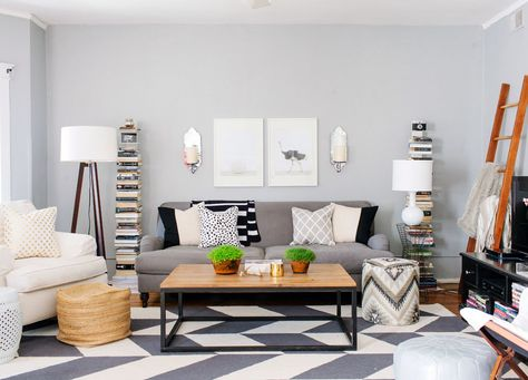 #chevron, #living-room, #sofa, #coffee-table, #rug, #paint-color, #floor-lamp, #gray, #walls, #home-tour  Photography: Stoffer Photography - stofferphotography.com/  Read More: http://www.stylemepretty.com/living/2014/01/01/favorite-homes-parties-more-from-2013/