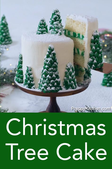 This moist, fluffy, and delicious Christmas tree cake from Preppy Kitchen has vanilla layers enrobed in creamy, vanilla buttercream, covered with beautiful Christmas trees that turn this cake into a dreamy winter wonderland. Christmas Tree Cake, Christmas Goodies, Christmas Parties, Holiday Desserts Christmas Cake, Christmas Tree Ideas, Chrismas Cake, Christmas Birthday Cake, Christmas Cupcakes Decoration, Beautiful Christmas Trees