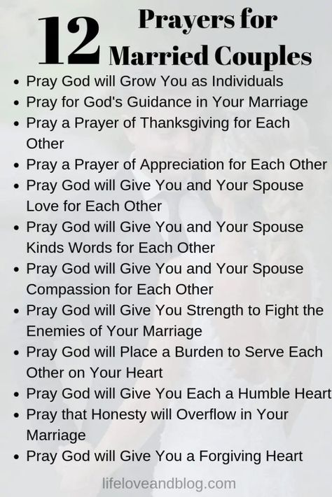 I love this list of prayers for married couples.  Marriage prayers are a key step for couples wanting to strengthen their relationship and fulfill God's purpose in their marriage.  #marriageprayers