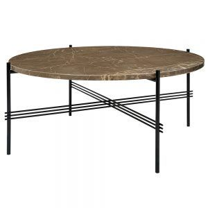 Ts Round Coffee Table Medium Brown Marble Black Round Coffee