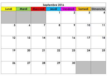 calendrier scolaire ce1