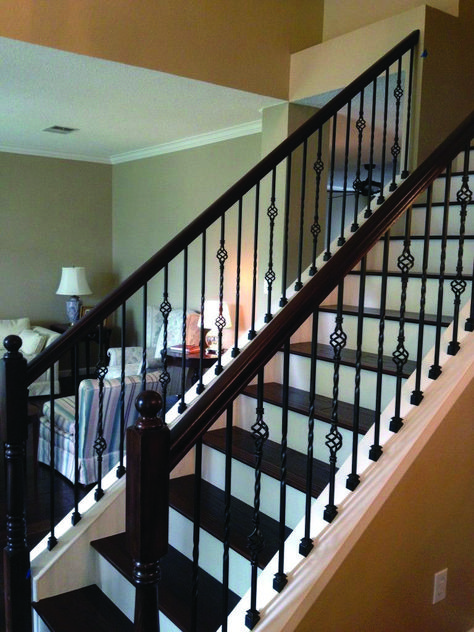 13 Outdoor Stair Railing Ideas That You Can Build Yourself Wrought Iron Stair Railing Wrought Iron Staircase Stair Railing Design
