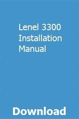 Lenel 3300 Installation Manual Installation Manual Pool