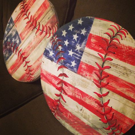 Rustic Hand Painted Wood Baseball by TheKnottedPallet on Etsy