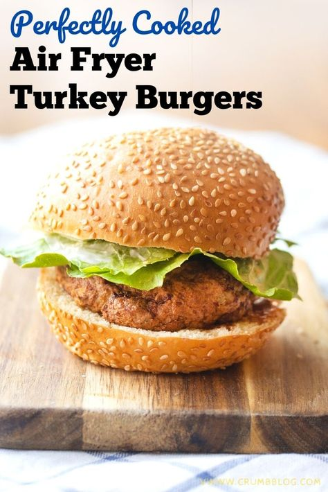 Turkey burgers in the air fryer come out gorgeously browned on the outside and perfectly juicy on the inside. You'll never pan-fry again!