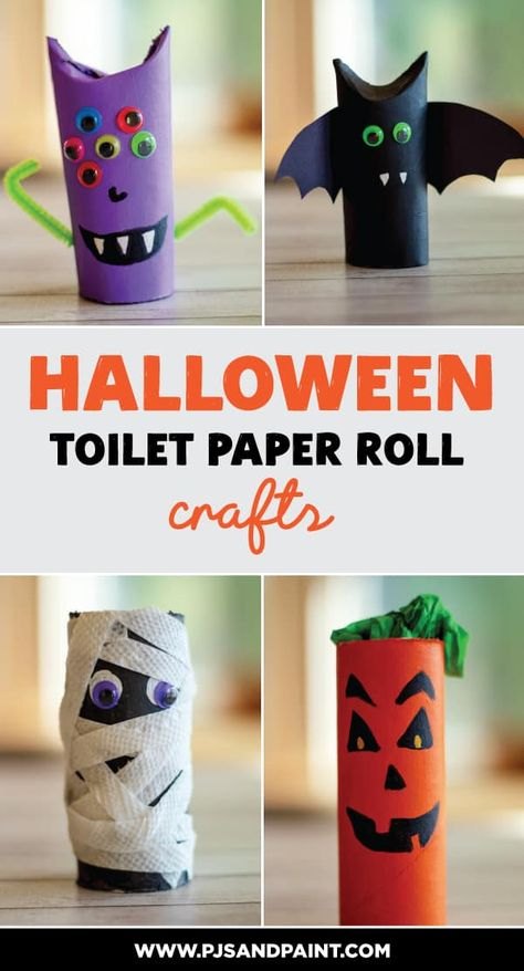 Tissue Roll Crafts, Paper Towel Roll Crafts, Toilet Paper Crafts, Toilet Paper Roll Bat, Summer Crafts For Toddlers, Halloween Crafts For Toddlers, Easy Crafts For Kids, Diy Crafts, Halloween Arts And Crafts