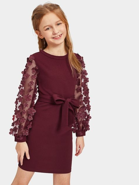 Girls Mesh With Appliques Belted Dress   SHEIN