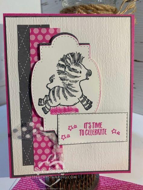 Stampin Up Karten, Stampin Up Cards, Kids Birthday Cards, Handmade Birthday Cards, African Cichlids, Bird Cards, Animal Cards, Zebras, Stamping Up