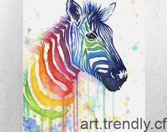 Zebra Aquarelle Peinture Arc En Ciel Impression Giclee Par
