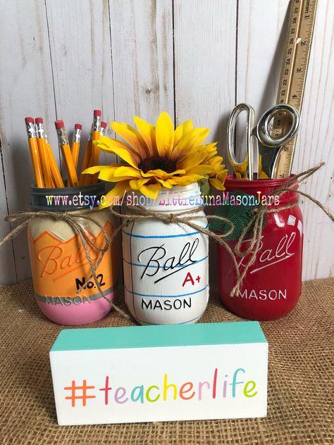 Excited to share this item from my #etsy shop: Back to school mason jar desk decor, desk organizer, teacher gift, teacher appreciation, apple jar, notebook paper jar and pencil jar
