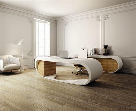 Wohnideen Home Office Weiß Beige Hoch Modern Futuristisch Schreibtisch |  Ideas For The House | Pinterest | Reception Desks, Wishful Thinking And  Product ...
