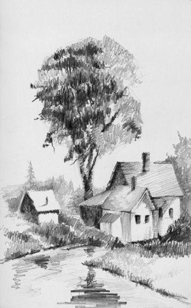 House Drawing Pencil Sketch 61 Ideas Landscape Pencil Drawings Landscape Sketch Landscape Drawings