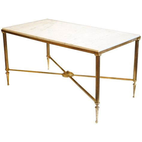 Antique Bronze Coffee Table French Marble Top Brass Coffee Table