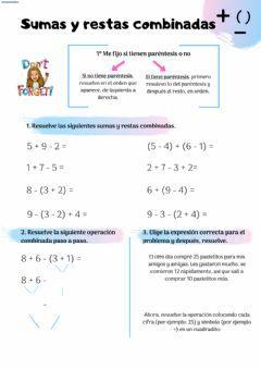 Sumas Y Restas Combinadas Language Spanish Grade Level Cuarto School Subject Matemáticas Main Content Operaciones Workbook School Subjects Videos Tutorial
