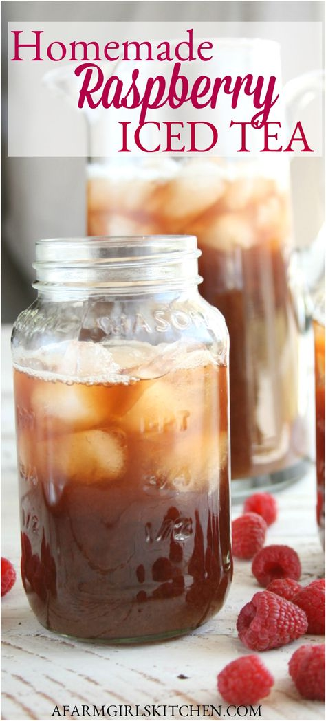 Iced Tea Recipes, Alcohol Drink Recipes, Punch Recipes, Snacks Für Die Party, Raspberry Iced Tea, Raspberry Ice Tea Recipe, Winter Drink, Homemade Iced Tea, Fresco