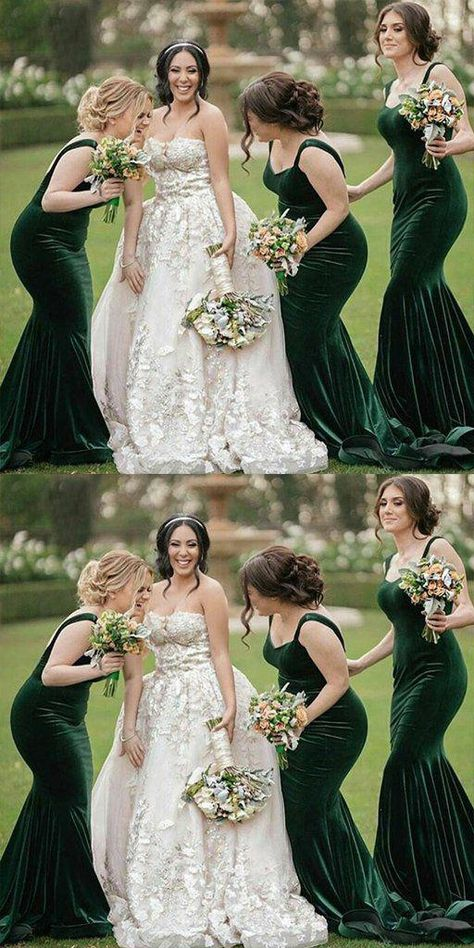 Simple Green Mermaid Spaghetti Straps Long Bridesmaid Dresses,Wedding Party Gowns, · Oktypes · Online Store Powered by Storenvy