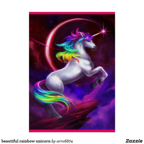 Buy 'Beautiful Rainbow Unicorn' Poster #zazzle #unicorn #unicornparty #unicornbirthday #madememsile #mademesmiledesign #rainbow #colorful #poster #posterdesign #unicornposter #unicornpower