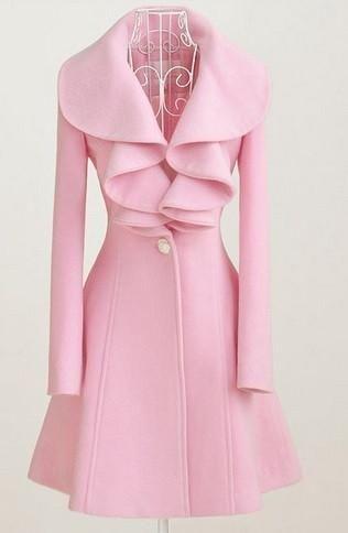 Women Lady Woolen Coat Slim Long-Sleeves Lapel Buttons Ruffle Solid Color Jacket