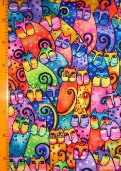 colorful cat quilt fabric by Laurel Burch Mais