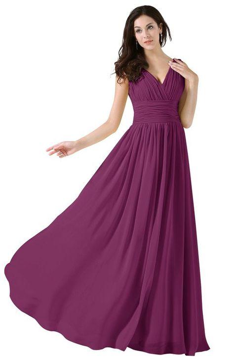 edb6e11ca6b9 Elegant V-neck Sleeveless Zip up Floor Length Ruching Bridesmaid Dresses