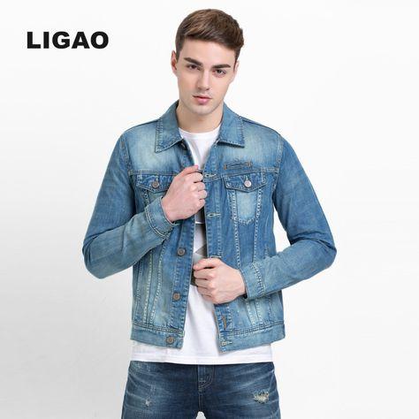 17085896c30 LIGAO Mens Jean Jacket Cotton Long Sleeve Denim Jacket Coats Casual Denim  Coat Washable Slim outwear Men Casual Jackets S-3XL  Affiliate