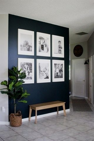 Dark Blue Wall with White Frames - LOVE this idea for a ...