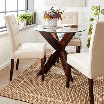 Simon Dining Table Set Includes Any 4 Mason Chairs Excluding Wingback Any Table Base Excluding Mirrored Dining Table Bases Round Glass Table Dining Table