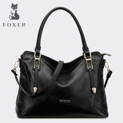 FOXER Women Leather Handbag Purse Lady Tote Shoulder Bag Top Handle Bag