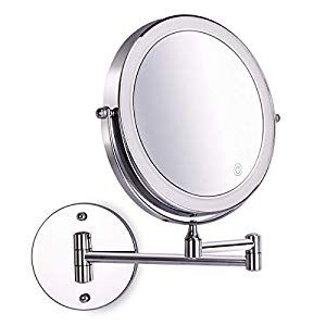 8 Inch Wall Mounted Makeup Mirror Adjustable Led Light Touch Screen 1x 10x Magnifying Two Sided 360 Swivel Extendable Vanity Mirror For Bathroom Chrome Finishe In 2020 Wall Mounted Makeup Mirror Mirror Chrome Bathroom