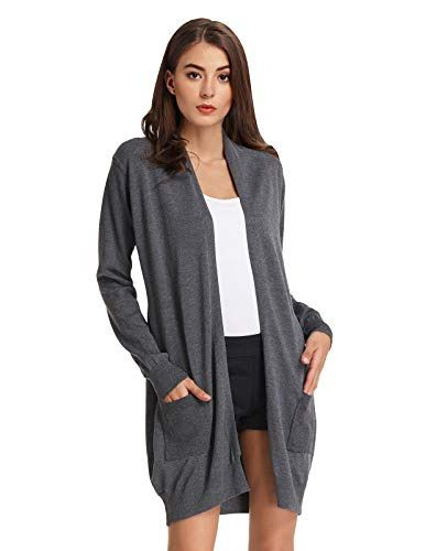 Womens Long Sleeve Slouchy Cardigan Open Front Draped with Pockets Mid Length US