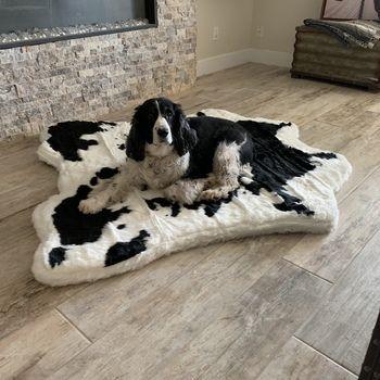 Puprug Animal Print Memory Foam Dog Bed Brown Faux Cowhide